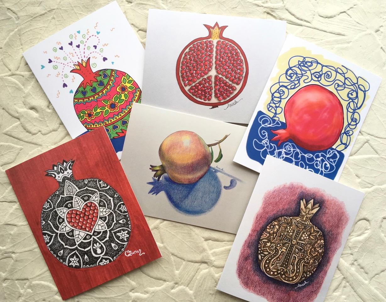 Pomegranate Series Set Of 6 Cards Abrilbooks Armenian